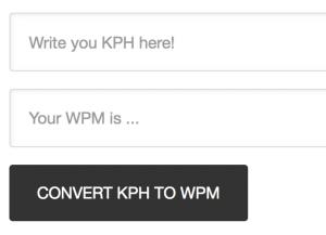 WPM to KPH